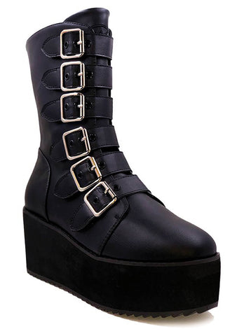 Strange Cvlt Strapped Boots in Black