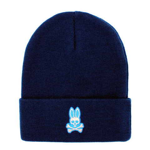 Psycho Bunny Basic Knit Beanie Hat in Navy