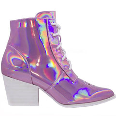 Y.R.U. Aura Hologram Witch Boots in Pink