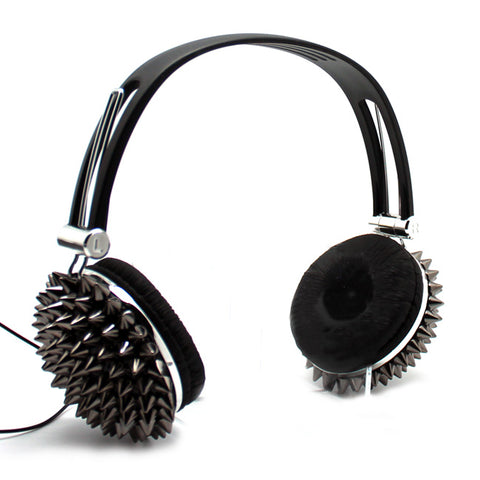 Spiked Stereo Headphones in Gunmetal