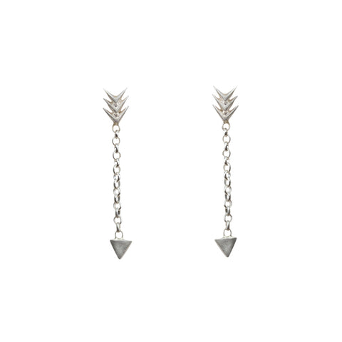 DOGEARED Follow Your Own Arrow Chain Earrings in Silver