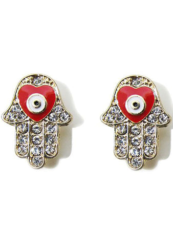 FASHô Heart Hamsa Studded Earring in Red/Gold