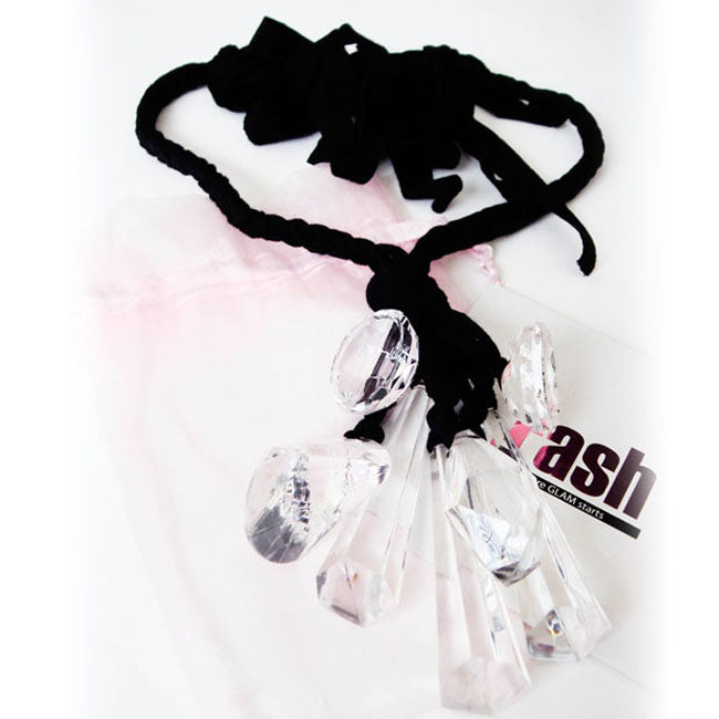 FASH Resin Crystal Braided Jersey Necklace in Black