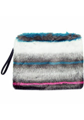 7 LUXE Rabbit Faux Fur Clutch Handbag