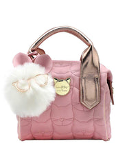 Payton Quilted Mini Satchel Bag in Blush