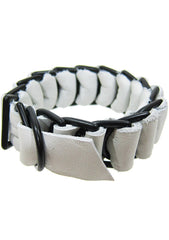 David Galan Military Leather Bracelet in White