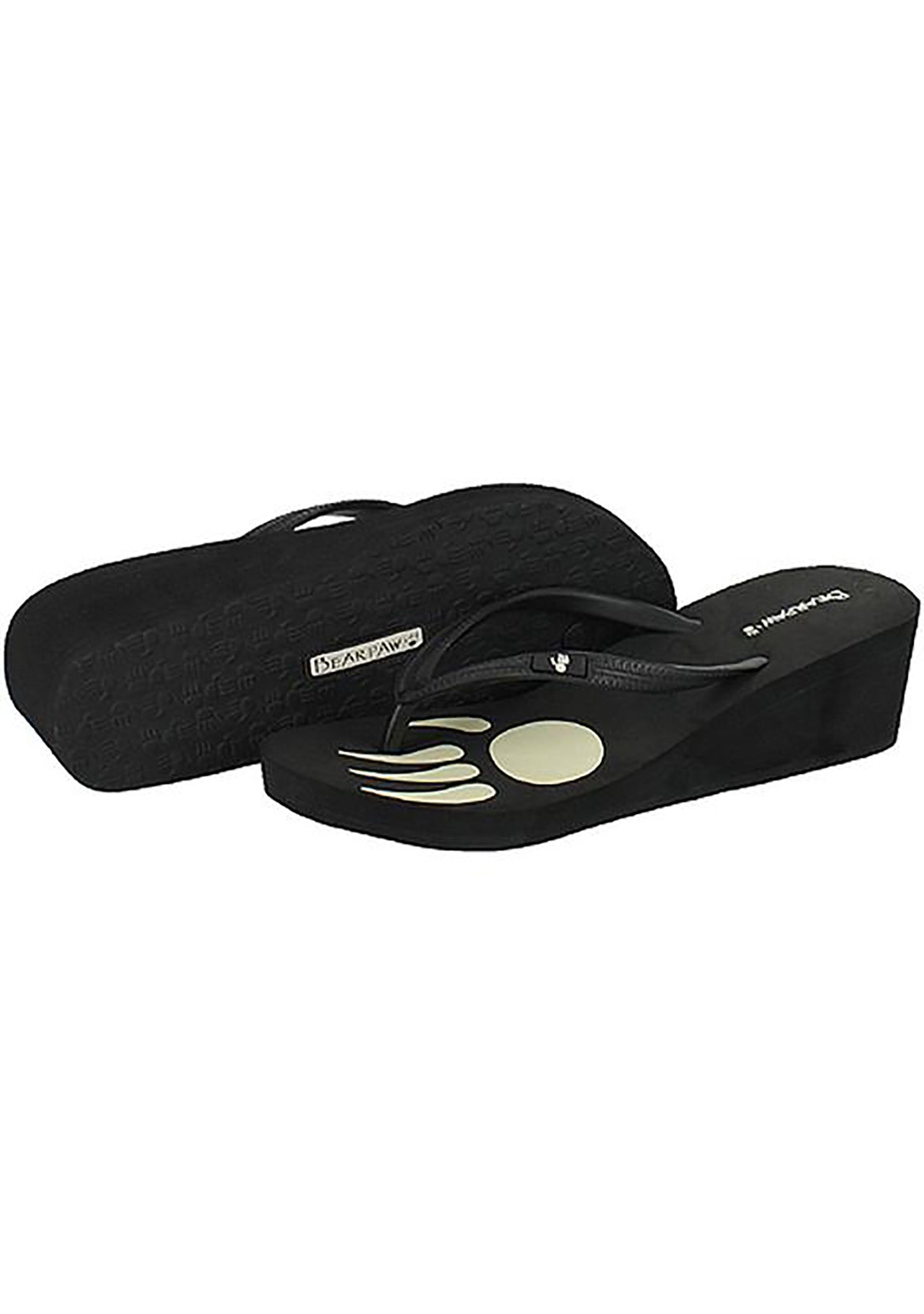 Bearpaw Lilly Wedge Soft Rubber Flip Flop Sandal in Black