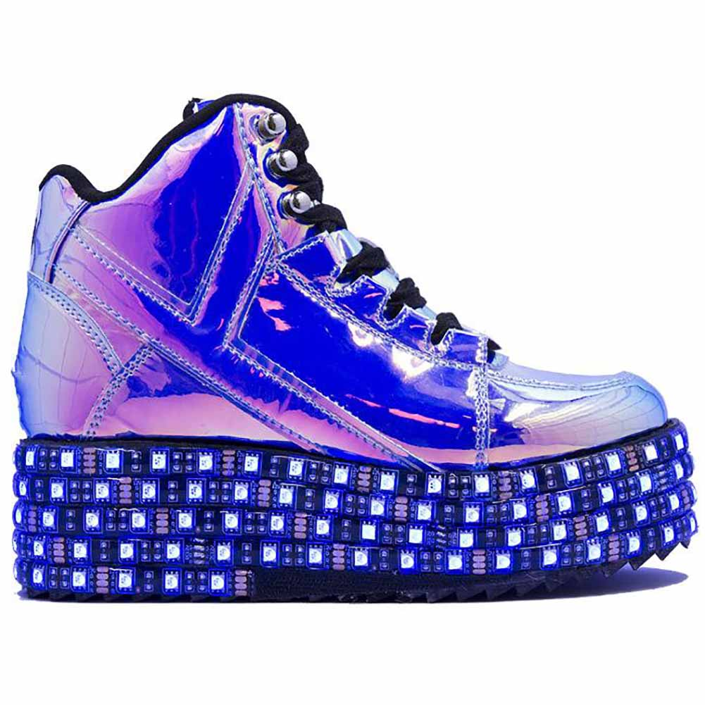 Y.R.U. Qozmo Low Key Platform Sneakers in Blue Atlantis