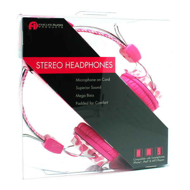 Pink Dots Stereo Headphones