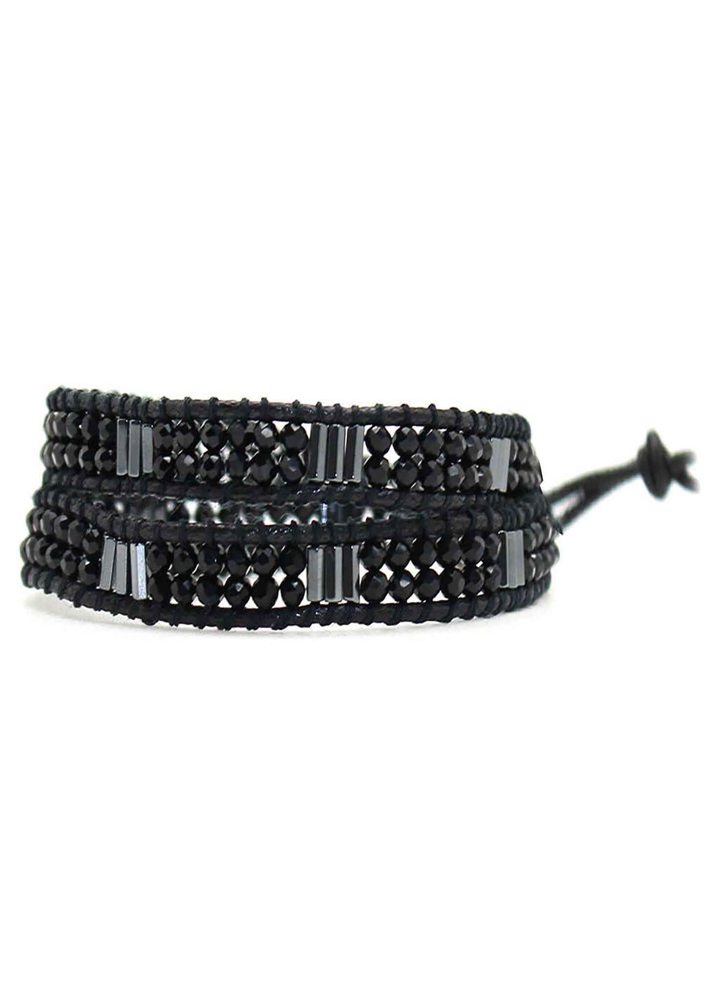 X Katie Soleil Melody Double Wrap Beaded Bracelet in Black