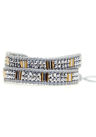 X Katie Soleil Melody Double Wrap Beaded Bracelet in Silver