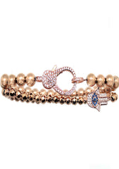 Divine Hamsa Bracelet Set in Rose Gold
