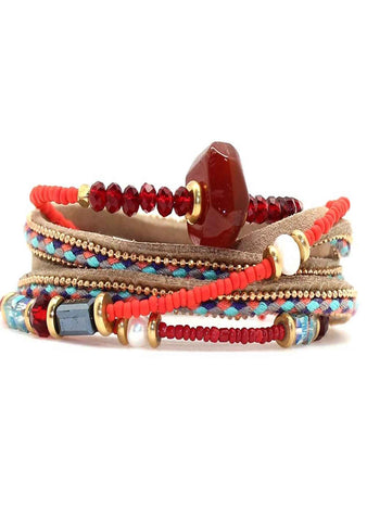 Mumbai Beaded Triple Wrap Bracelet