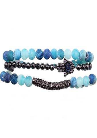 Divine Hamsa Bracelet Set in Blue