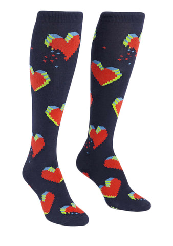 Sock It To Me Pixelated Hearts Knee High Socks
