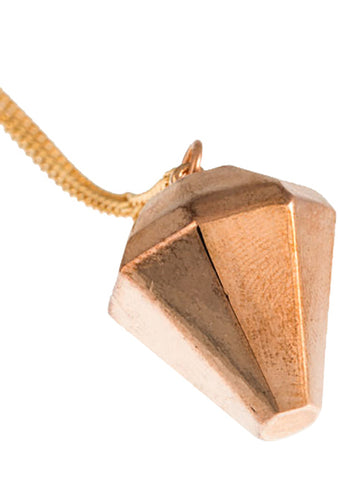 Timi 3D Diamond Pendant Necklace in Rose Gold
