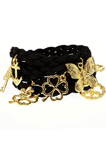 Timi Suede Wrap Charm Bracelet in Black/Gold