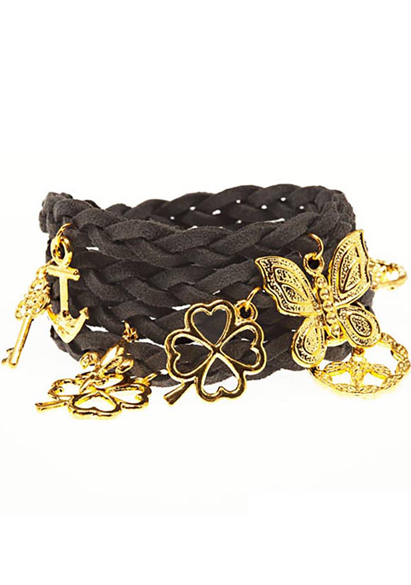 Timi Suede Wrap Charm Bracelet in Dark Grey/Gold