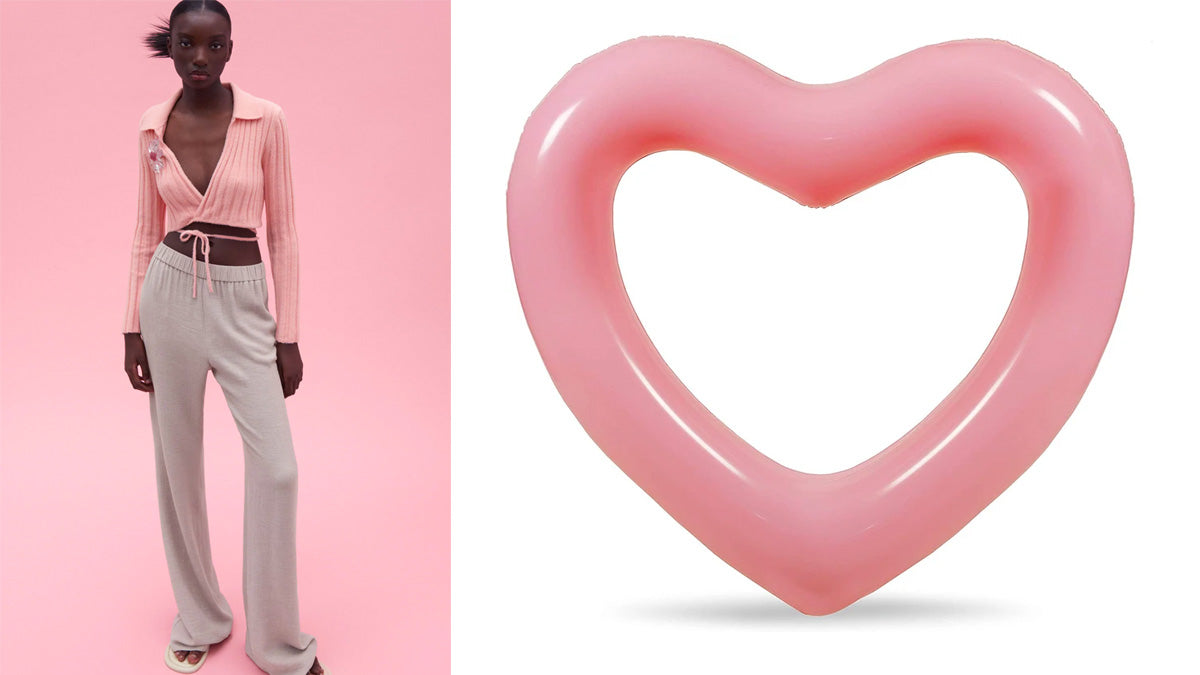 heart shape pool floats in shades of pink