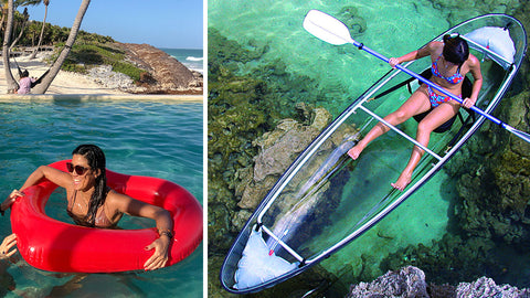 Left: a woman in her red heart float, in water, on the beach. Right: Woman staring at the water beneath her from a clear kayak.