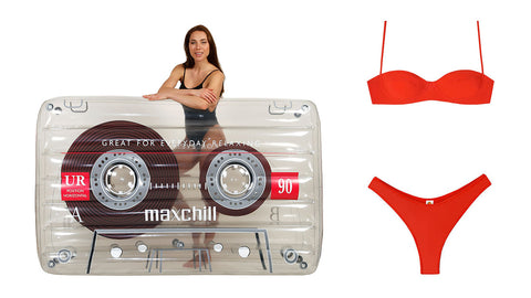 Left: Woman in black swimwear standing behind an inflatable clear cassette pool lounger. Right: Red two-piece bikini with a spaghetti strap top, and high-waisted bottom.
