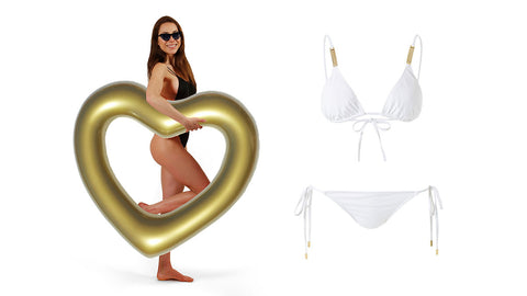 Left: Woman in black swimwear and sunglasses holding a gold heart shaped inflatable swim ring. Right: White two-piece bikini with ties.