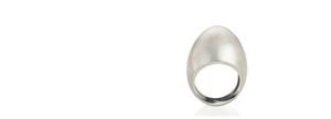 brushed silver egg ring