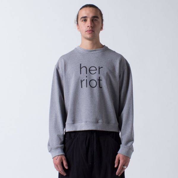 Cotton Sweater Sweatshirt with her riot screen print