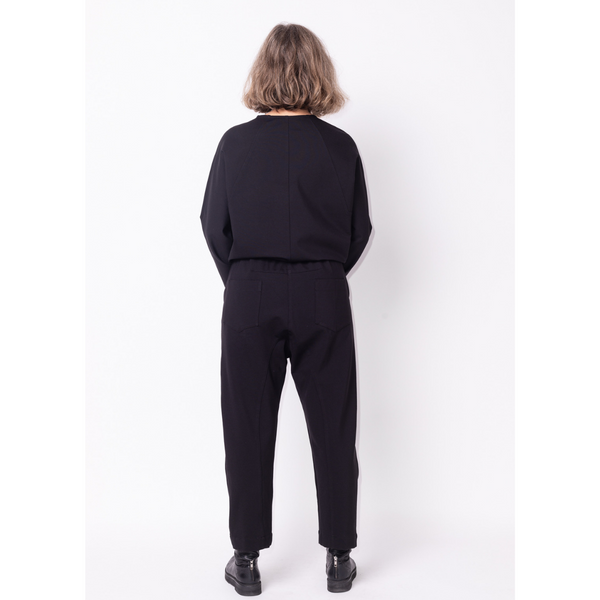 Black easy fit pant with elastic back and drop crotch