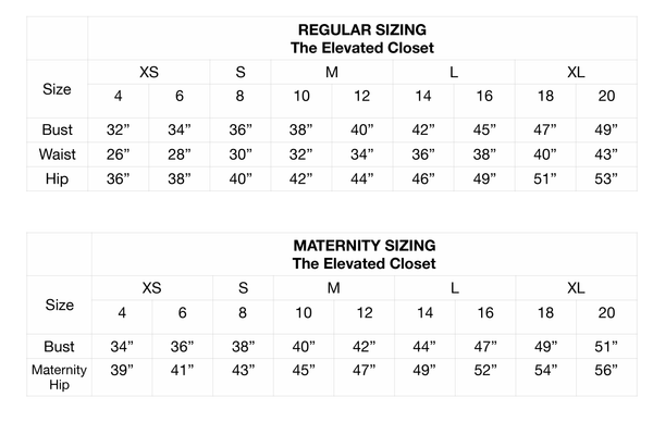 Tall womens clothing size chart