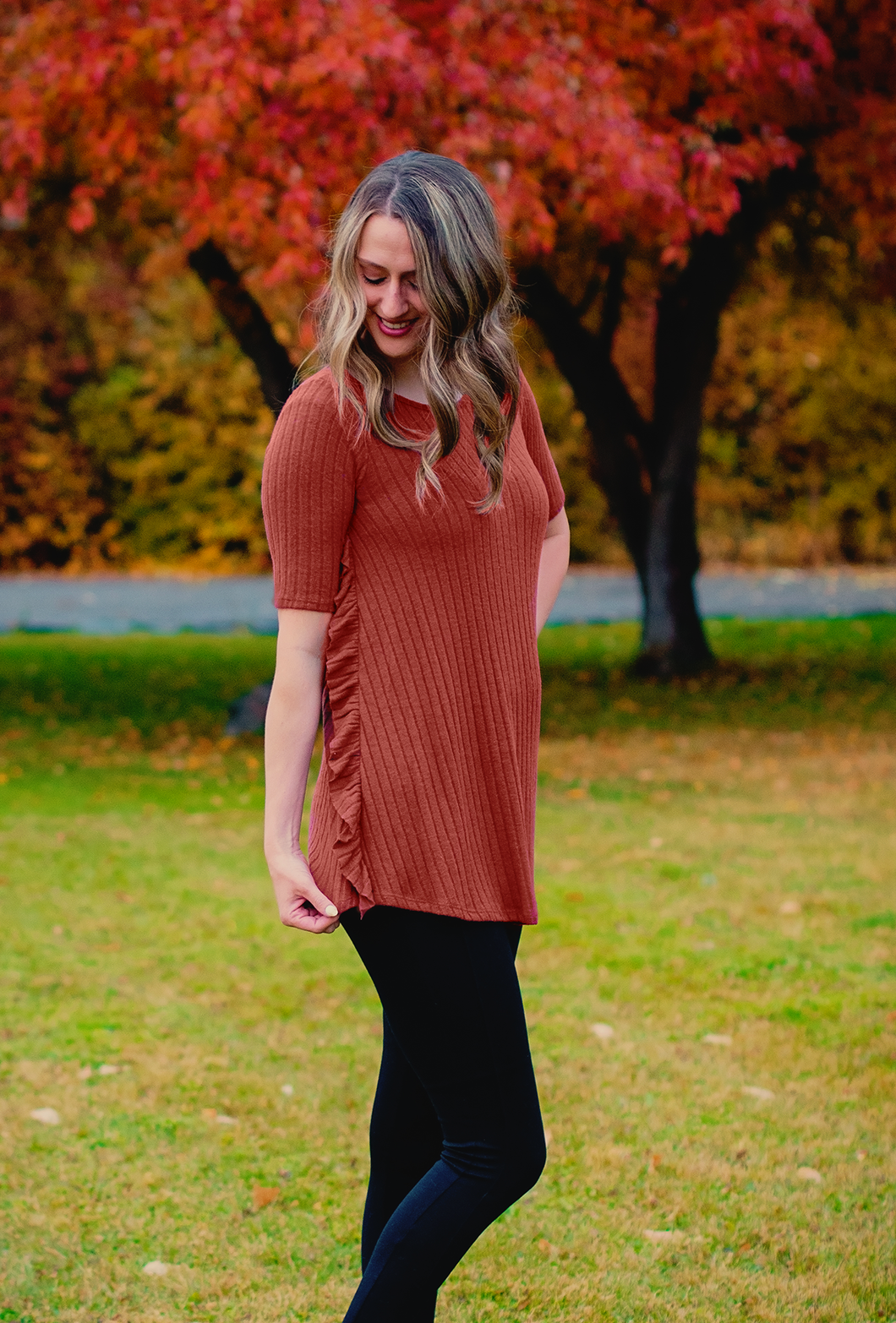 Ribbed Ruffle Tunic- 2 colors