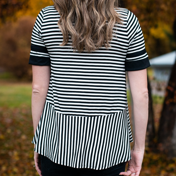 Stripe Peplum Back Tall Top
