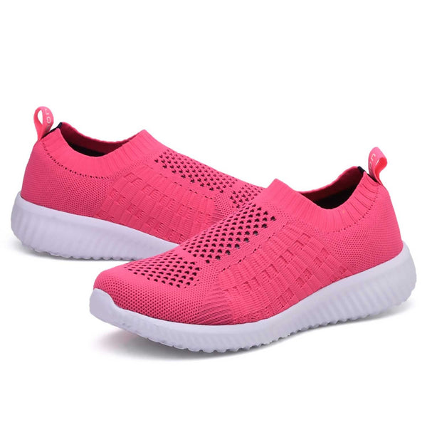 Knitted Slip-On Walking Shoes Sizes 10-13: Rose