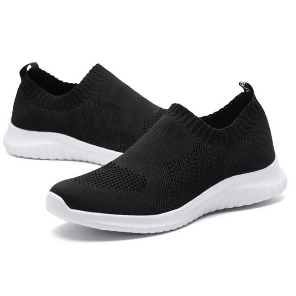 Knitted Slip-On Walking Shoes Sizes 10-13: Black