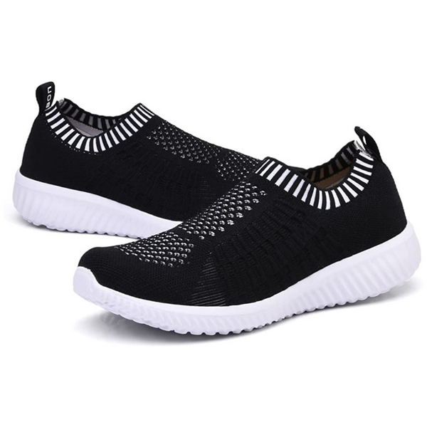 Knitted Slip-On Walking Shoes Sizes 10-13: Black/White