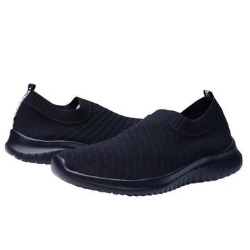 CopKnitted Slip-On Walking Shoes Sizes 12-15: All Black