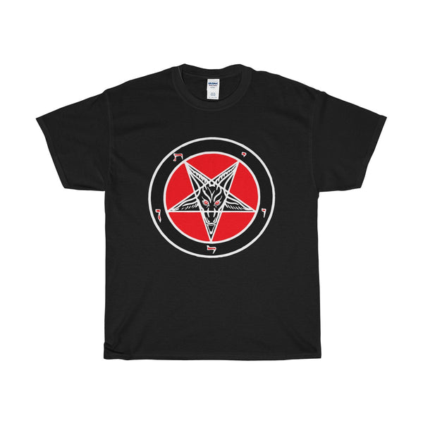 Dual Sided Baphomet  front - Lugifer Sigil back -  Heavy Cotton Tee