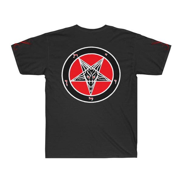Dual Baphomets on front and back - large - Dual Lucifer sigils on sleeves - High quality