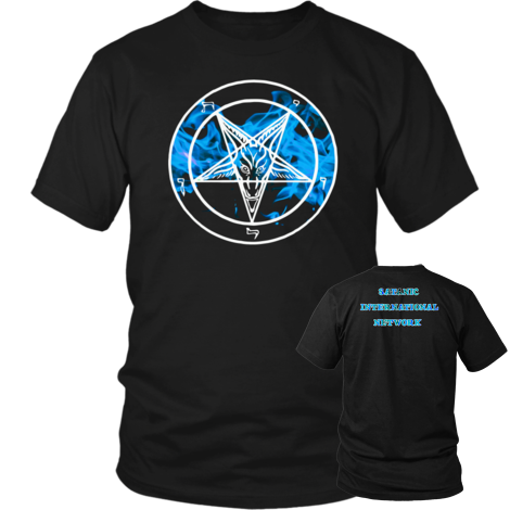Blue Flame Baphomet - Dual Sided - SIN lettering on back