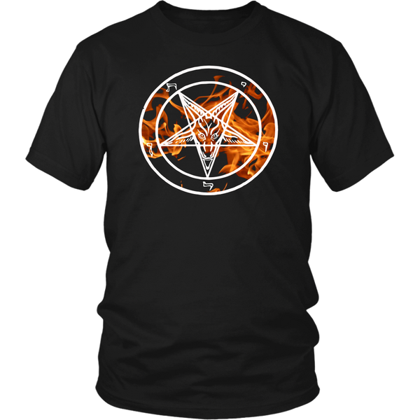 Custom flame Baphomet Shirt 16.66