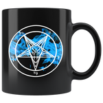 Blue Flame Baphomet  ( Double Sided ) - 11oz Mug Black