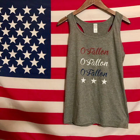 Patriotic Red White and Blue O'Fallon Tank