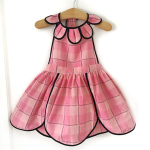 Size 5 Embroidered Plaid Vintage Petal Pinny