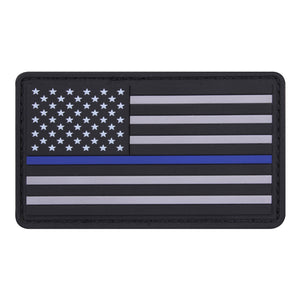 Rothco PVC Thin Blue Line Flag Patch - Stryker Airsoft