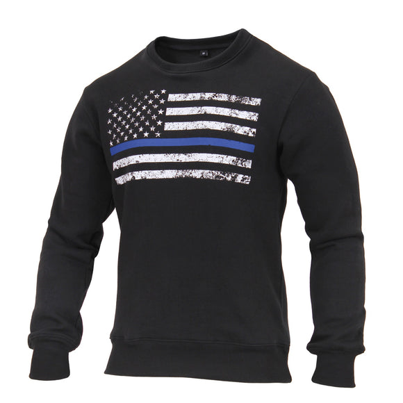 Rothco Thin Blue Line Flag Crew Neck Sweatshirt (Black) - Stryker Airsoft