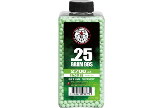 G&G Competition 0.25g 2700ct 6mm Tracer Airsoft BBs (Green)