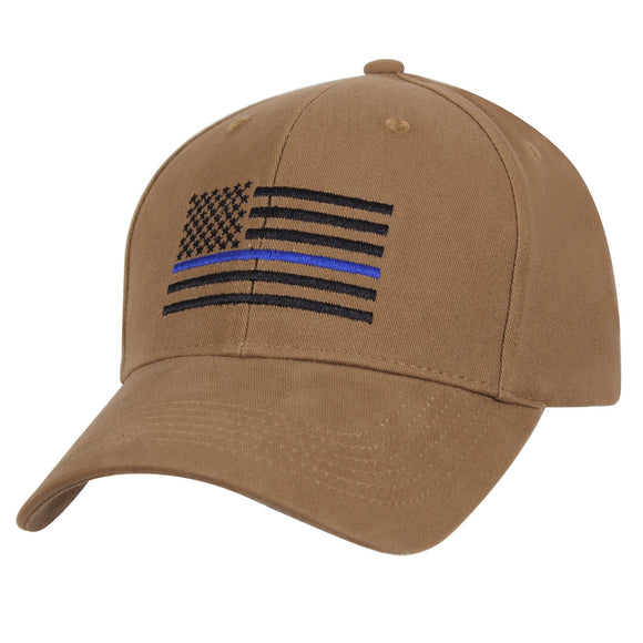 Rothco Thin Blue Line Flag Low Profile Cap (Coyote Brown)
