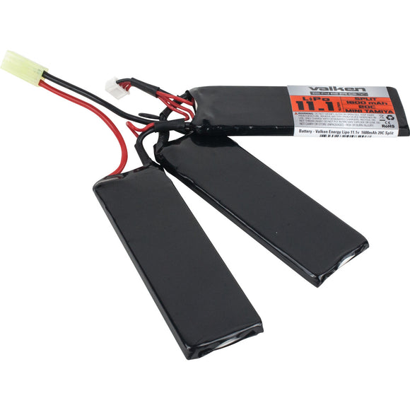 Valken Energy 11.1v 1600mAh 30C LiPo Split Battery - Stryker Airsoft