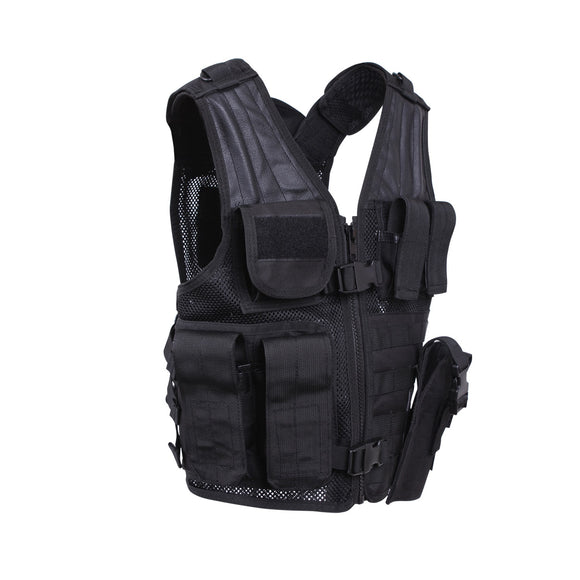 Rothco Kid's Tactical Crossdraw Vest (Black) - Stryker Airsoft