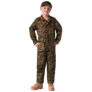 Rothco Kid's Digital Camo BDU Shirt - Medium (Woodland Digital) - Stryker Airsoft